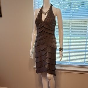 Cache Shimmering Ruffled Cocktail Dress Size 4